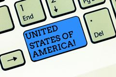 Word writing text United States Of America. Business concept for Country in the north Capital Washington DC Keyboard key. Intention to create computer message royalty free stock photography