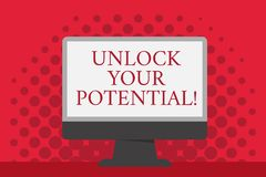 Word writing text Unlock Your Potential. Business concept for Reveal talent Develop abilities Show demonstratingal. Word writing text Unlock Your Potential royalty free illustration
