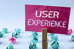 Word writing text User Experience. Business concept for Customer experience feedback web infrastructure development written on Pin. Word writing text User Stock Image