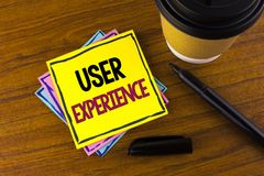 Word writing text User Experience. Business concept for Customer experience feedback web infrastructure development written on Sti. Word writing text User Stock Photos