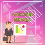 Word writing text Vacation Rentals. Business concept for Renting out of apartment house condominium for a short stay. Word writing text Vacation Rentals royalty free illustration