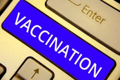Word writing text Vaccination. Business concept for Treatment which makes the body stronger against infection Keyboard blue key In. Tention create computer royalty free stock images