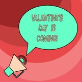 Word writing text Valentine S Is Day Is Coming. Business concept for Roanalysistic season of the year Love celebration. Blank Oval Outlined Speech Bubble Text royalty free illustration