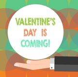 Word writing text Valentine S Is Day Is Coming. Business concept for Roanalysistic season of the year Love celebration. Hu analysis Hand in Suit Offering Blank stock illustration
