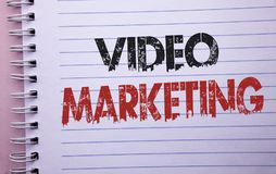 Word writing text Video Marketing. Business concept for Media Advertising Multimedia Promotion Digital Strategy written on Noteboo royalty free stock images