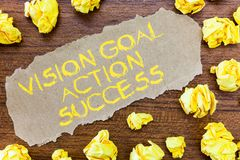 Word writing text Vision Goal Action Success. Business concept for Strategic Planning Process Act your Dreams.  royalty free illustration