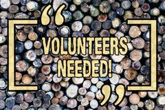 Word writing text Volunteers Needed. Business concept for Social Community Charity Volunteerism Wooden background. Word writing text Volunteers Needed. Business stock image