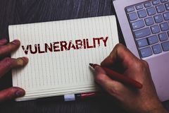 Word writing text Vulnerability. Business concept for Information susceptibility systems bug exploitation attacker Notepad marker. Pen ideas thoughts laptop stock photography