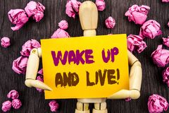 Word, writing, text  Wake Up And Live. Conceptual photo Motivational Success Dream Live Life Challenge written on Sticky Note Hold. Word, writing, text  Wake Up Royalty Free Stock Images