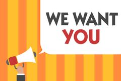 Word writing text We Want You. Business concept for Company wants to hire Vacancy Looking for talents Job employment Man holding m. Egaphone loudspeaker speech vector illustration