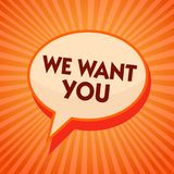 Word writing text We Want You. Business concept for Company wants to hire Vacancy Looking for talents Job employment Orange speech. Bubble message reminder rays royalty free illustration