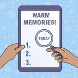 Word writing text Warm Memories. Business concept for Something that you remember with pleasure Sweet reminiscences. Word writing text Warm Memories. Business stock illustration