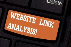 Word writing text Website Link Analysis. Business concept for evaluate the relationships between network nodes Keyboard. Key Intention to create computer royalty free stock image