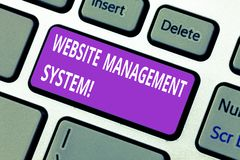 Word writing text Website Management System. Business concept for way to analysisage digital information on a website. Keyboard key Intention to create computer stock image