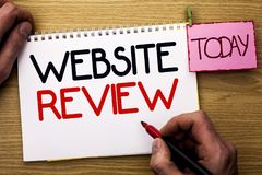 Word writing text Website Review. Business concept for Homepage Evaluation Customer Opinion Satisfaction Ranking written by Man on. Word writing text Website royalty free stock photo