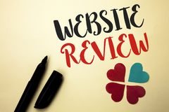 Word writing text Website Review. Business concept for Homepage Evaluation Customer Opinion Satisfaction Ranking written by Marker. The plain background Hearts royalty free stock photos