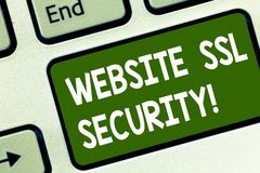 Word writing text Website Ssl Security. Business concept for encrypted link between a web server and a browser Keyboard. Key Intention to create computer royalty free stock images