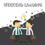 Word writing text Weekend Loading. Business concept for Starting Friday party relax happy time resting Vacations Two vector illustration