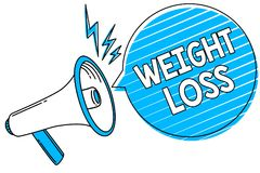 Word writing text Weight Loss. Business concept for Decrease in Body Fluid Muscle Mass Reduce Fat Dispose Tissue Megaphone loudspe. Aker blue speech bubble vector illustration