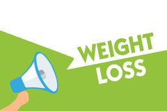 Word writing text Weight Loss. Business concept for Decrease in Body Fluid Muscle Mass Reduce Fat Dispose Tissue Megaphone loudspe. Aker speech bubbles important vector illustration
