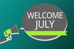 Word writing text Welcome July. Business concept for Calendar Seventh Month 31days Third Quarter New Season Man holding megaphone. Loudspeaker speech bubble royalty free illustration
