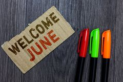 Word writing text Welcome June. Business concept for Calendar Sixth Month Second Quarter Thirty days Greetings Paperboard Importan. T reminder Communicate ideas stock images