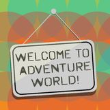 Word writing text Welcome To Adventure World. Business concept for Enjoyment travelling exploring new places Tourism vector illustration