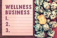 Word writing text Wellness Business. Business concept for Professional venture focusing the health of mind and body.  stock images
