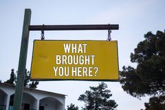 Word writing text What Brought You Here Question. Business concept for Ambition can be obtain by determination Wooden board hang h stock photography