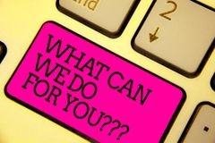Word writing text What Can We Do For You question question question. Business concept for how may I help assist Keyboard pink key stock photos