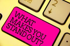 Word writing text What Makes You Stand Out question. Business concept for asking someone about his qualities Keyboard pink key Int. Ention create computer royalty free stock photos