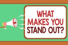 Word writing text What Makes You Stand Out question. Business concept for asking someone about his qualities Man holding megaphone. Loudspeaker speech bubble Royalty Free Stock Photography