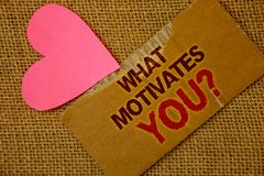 Word writing text What Motivates You Question. Business concept for Passion Drive Incentive Dream Aspiration Torn thick paper bloo. D and pigment red texts jute royalty free stock image
