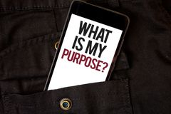 Word writing text What Is My Purpose Question. Business concept for Direction Importance Discernment Reflection Cell phone black c. Olor frontal pocket show royalty free stock photo