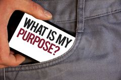 Word writing text What Is My Purpose Question. Business concept for Direction Importance Discernment Reflection Personage hand pus. Hing mobile phone into back royalty free stock images