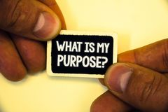 Word writing text What Is My Purpose Question. Business concept for Direction Importance Discernment Reflection Two hands hold sma. Ll black card focused white stock photography