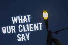 Word writing text What Our Client Say. Business concept for Customers Feedback or opinion about product service Light post dark bl. Ue cloudy clouds sky ideas Royalty Free Stock Photos