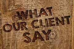 Word writing text What Our Client Say. Business concept for Customers Feedback or opinion about product service Message banner woo. D information board post Royalty Free Stock Photos