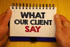 Word writing text What Our Client Say. Business concept for Customers Feedback or opinion about product service Papers Ideas messa. Ges important remember Stock Image