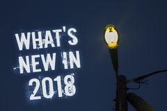 Word writing text What 'S New In 2018. Business concept for Year resolution Goals Career achievements Technology Light post dark b. Lue cloudy clouds sky ideas vector illustration
