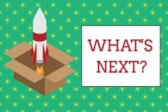 Word writing text What S Next Question. Business concept for asking demonstrating about his coming action or behavior. Word writing text What S Next Question royalty free illustration