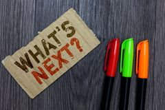 Word writing text What s is Next question. Business concept for Get information Ask Query Investigate Probes Explore. Paperboard Important reminder Communicate royalty free stock photography