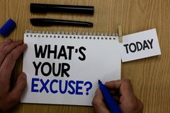 Word writing text What s is Your Excuse question. Business concept for Explanations for not doing something Inquiry Hand hold pen. Notepad with words paperclip stock photo