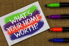 Word writing text What s is Your Home Worth question. Business concept for Value of a house Property Cost Price Rate Colorful wave. S with white page and texts stock photos