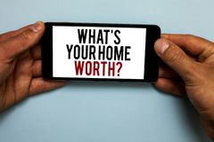 Word writing text What s is Your Home Worth question. Business concept for Value of a house Property Cost Price Rate Human hand ho. Ld smartphone with red and royalty free stock photo