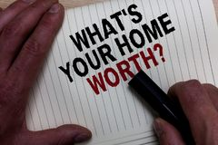 Word writing text What s is Your Home Worth question. Business concept for Value of a house Property Cost Price Rate Man's hand g. Rasp black marker with some royalty free stock images