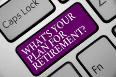 Word writing text What s is Your Plan For Retirement question. Business concept for Savings Pension Elderly retire Keyboard purple stock photography