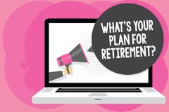 Word writing text What s is Your Plan For Retirement question. Business concept for Savings Pension Elderly retire Man holding Meg. Aphone loudspeaker computer vector illustration