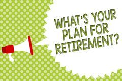 Word writing text What s is Your Plan For Retirement question. Business concept for Savings Pension Elderly retire Megaphone louds