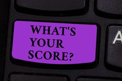 Word writing text What S Your Score. Business concept for Personal grade rating on a competition game or study Keyboard. Word writing text What S Your Score royalty free stock image